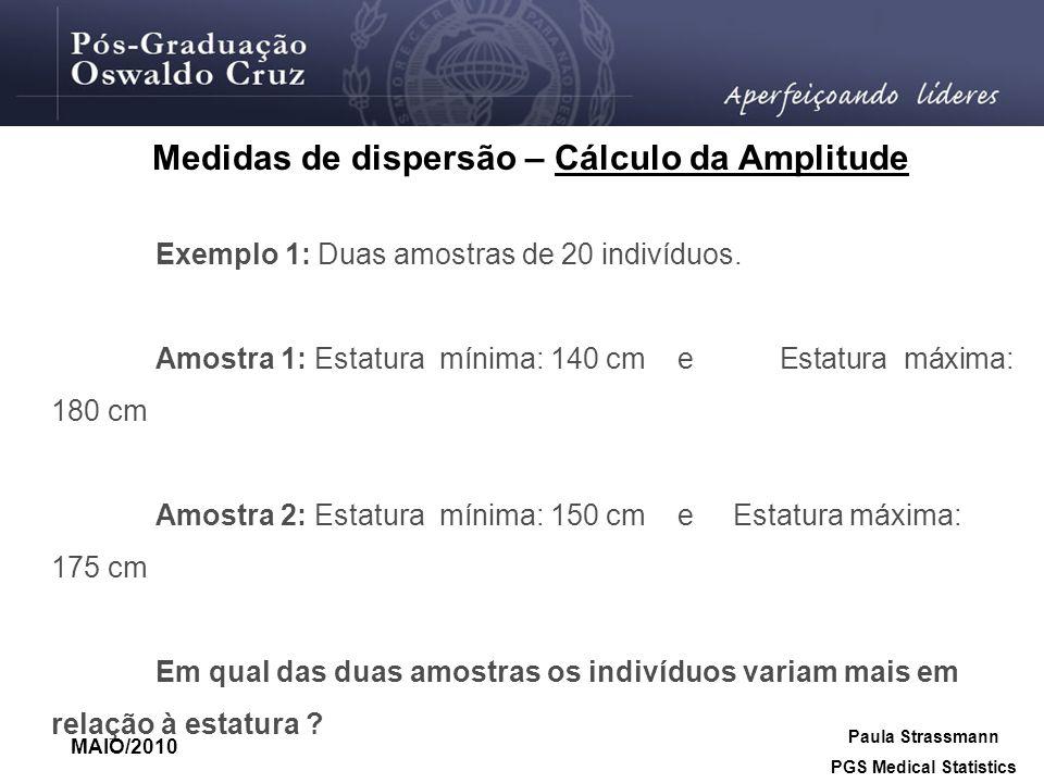 Medidas de dispersão – Cálculo da Amplitude PGS Medical Statistics