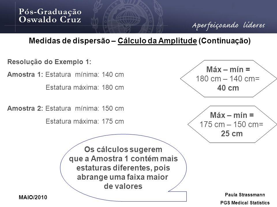 Medidas de dispersão – Cálculo da Amplitude (Continuação)