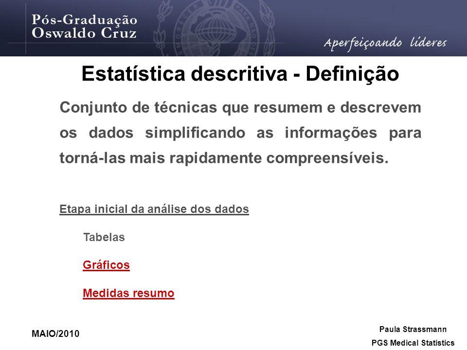 Estatística descritiva - Definição PGS Medical Statistics
