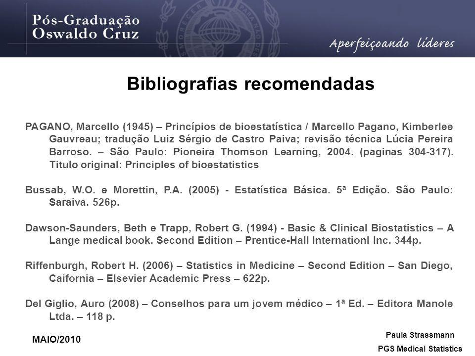 Bibliografias recomendadas PGS Medical Statistics