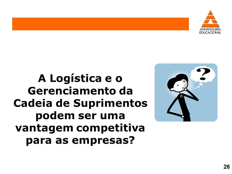 A Logística e o Gerenciamento da Cadeia de Suprimentos podem ser uma vantagem competitiva para as empresas