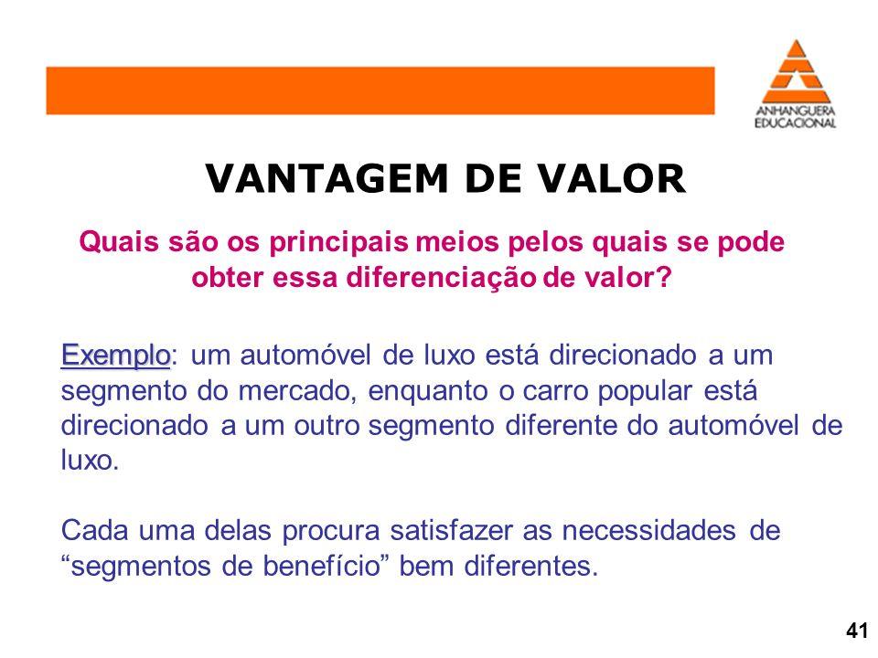 VANTAGEM DE VALOR Quais são os principais meios pelos quais se pode obter essa diferenciação de valor