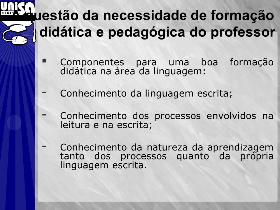 A questão da necessidade de formação didática e pedagógica do professor