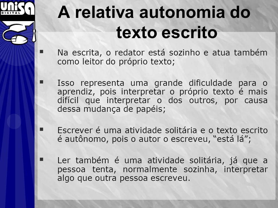 A relativa autonomia do texto escrito