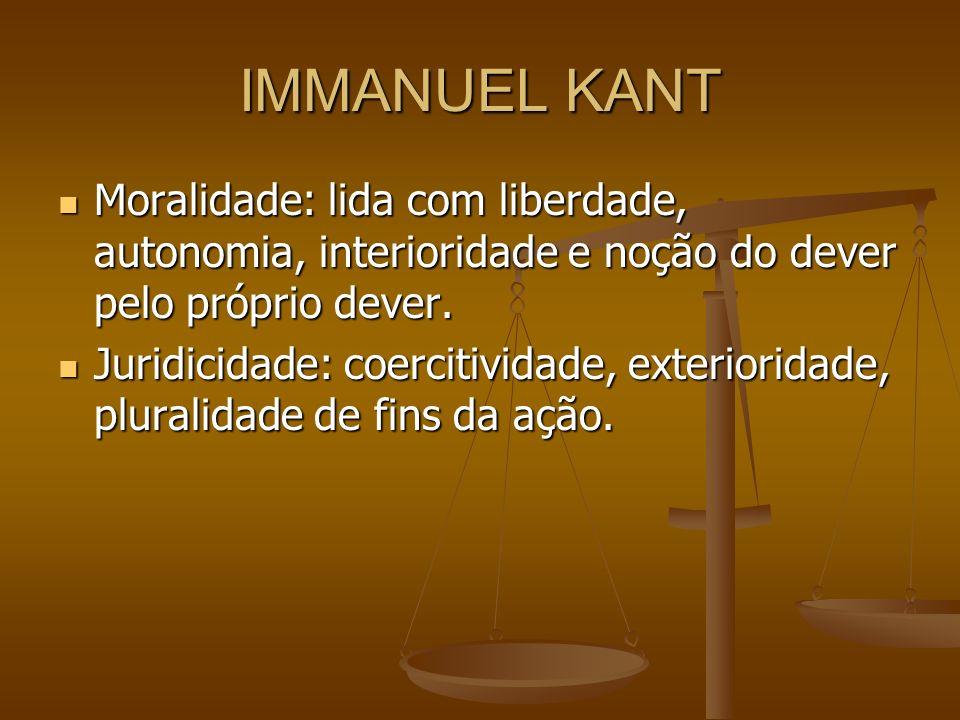 IMMANUEL KANT Moralidade: lida com liberdade, autonomia, interioridade e noção do dever pelo próprio dever.