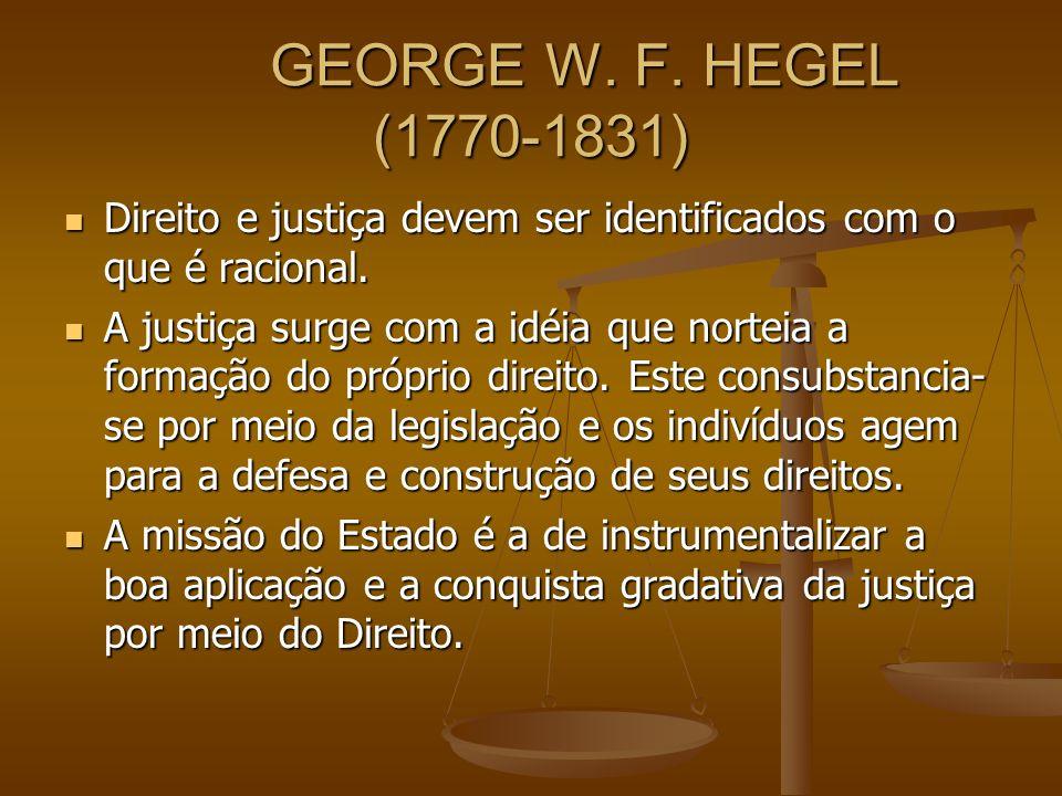 GEORGE W. F. HEGEL (1770-1831) Direito e justiça devem ser identificados com o que é racional.