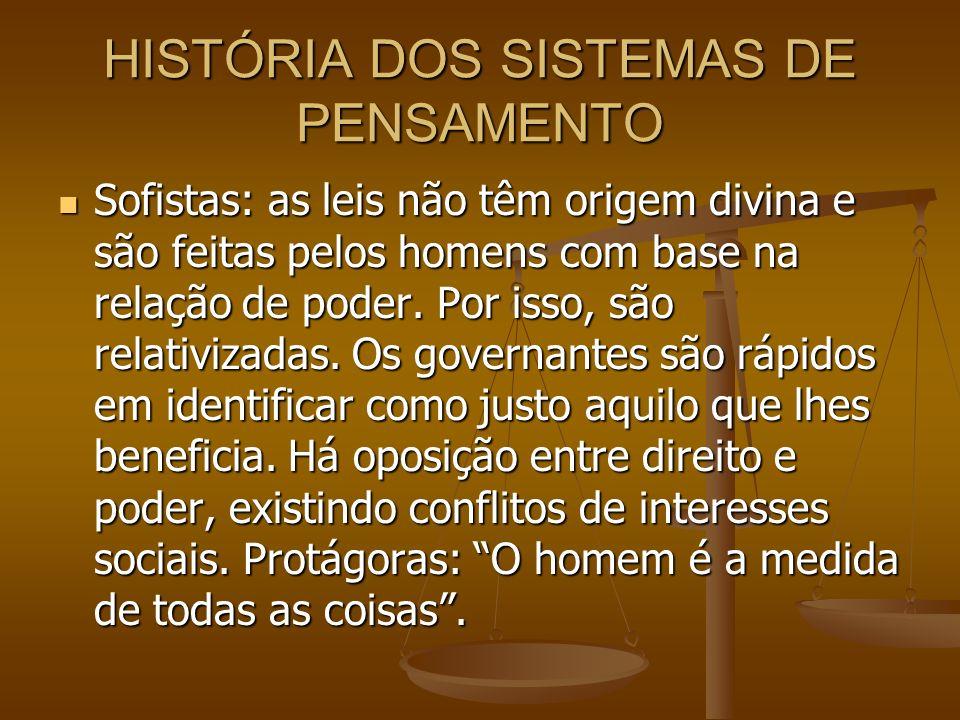 HISTÓRIA DOS SISTEMAS DE PENSAMENTO