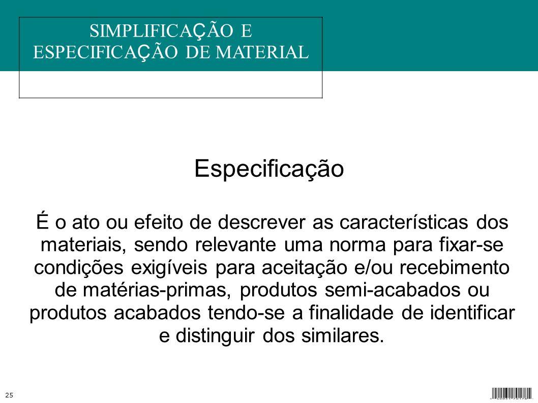 SIMPLIFICAÇÃO E ESPECIFICAÇÃO DE MATERIAL