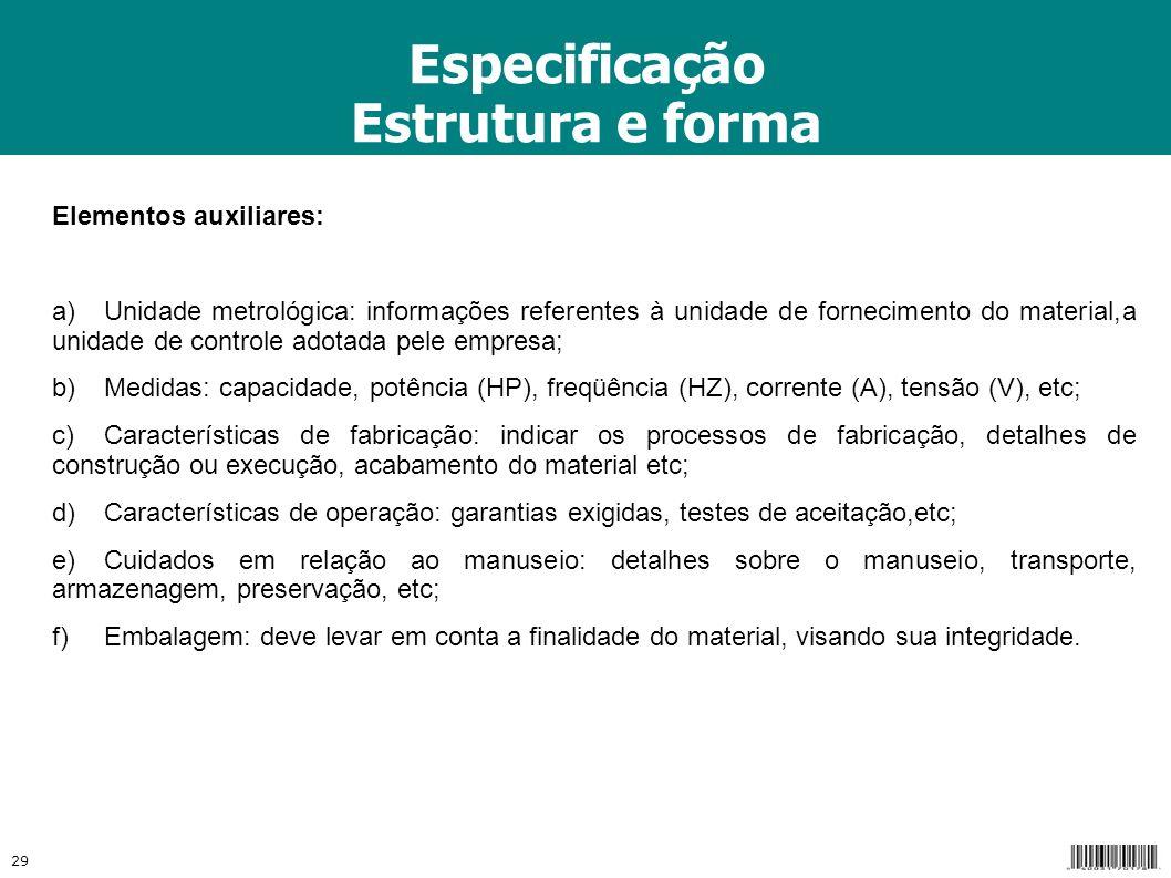 Especificação Estrutura e forma