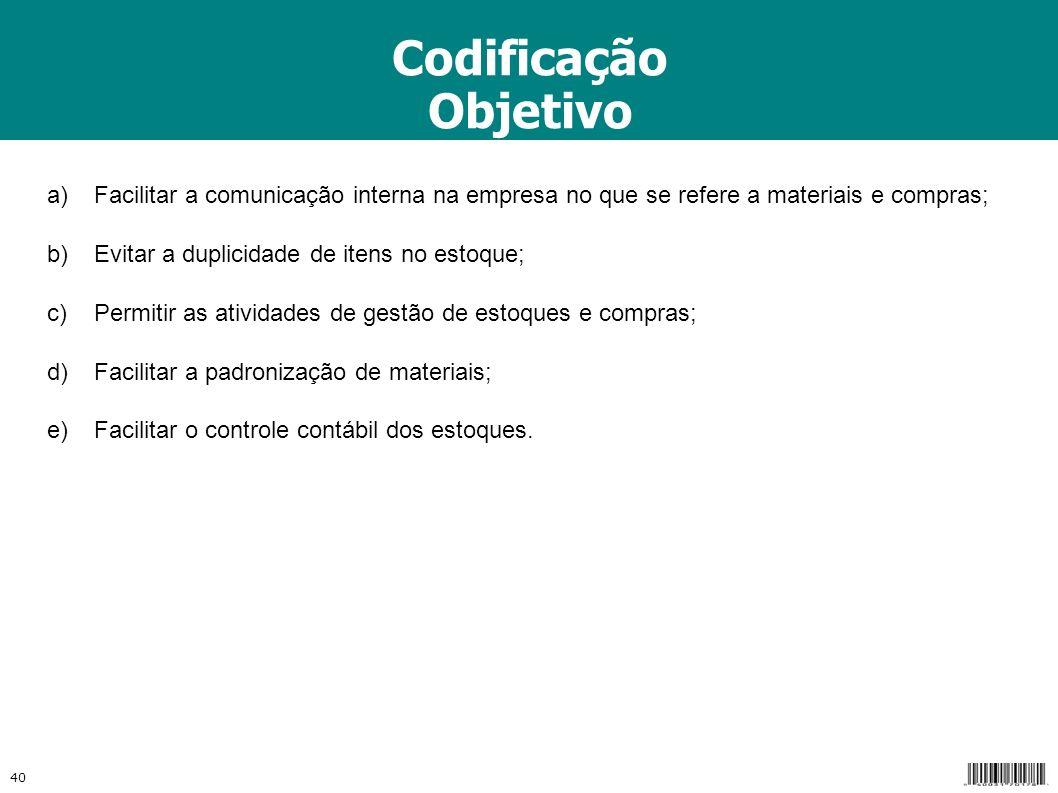 Codificação Objetivo. a) Facilitar a comunicação interna na empresa no que se refere a materiais e compras;
