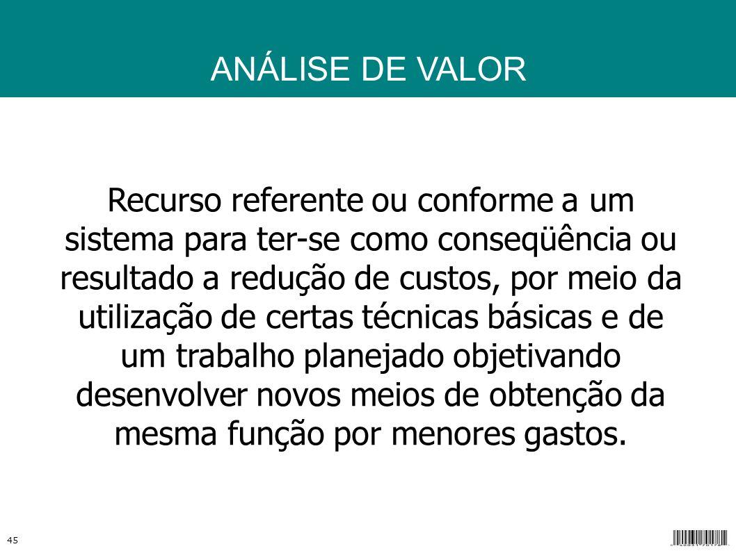 ANÁLISE DE VALOR Análise de Valor