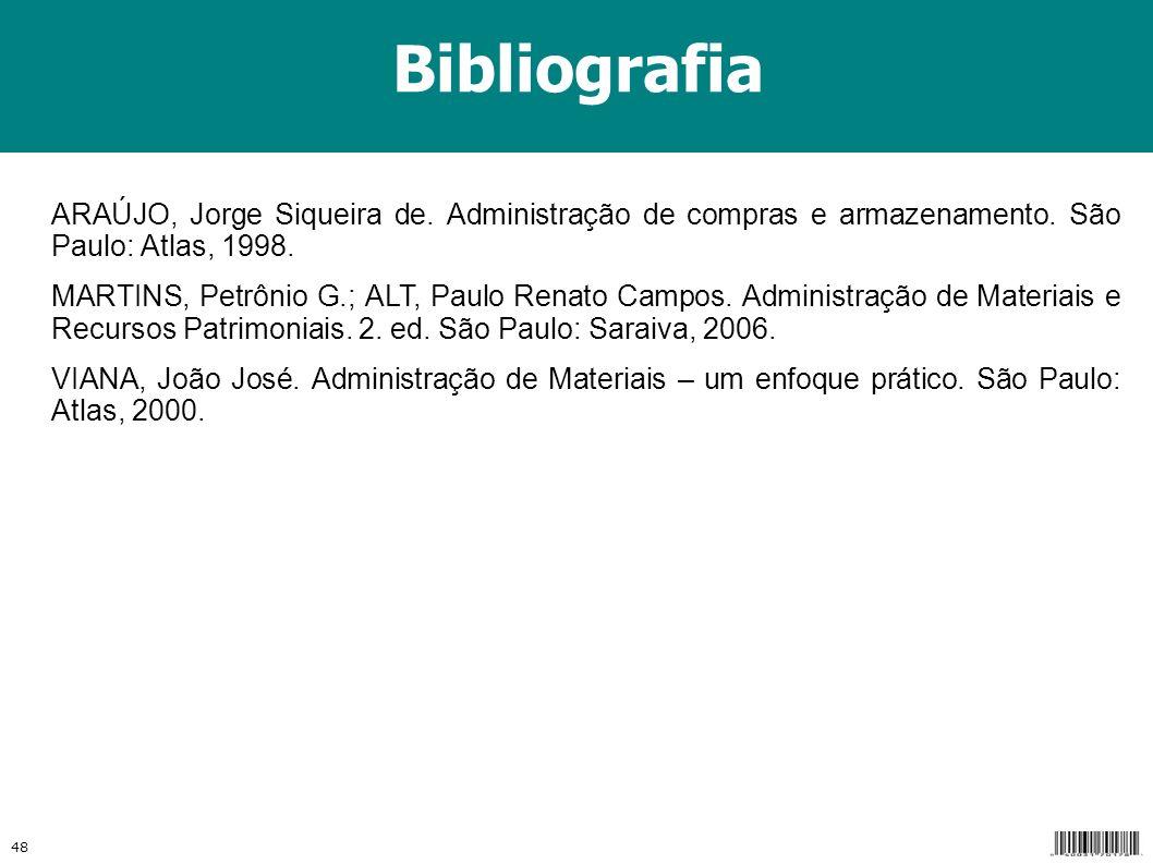 Bibliografia ARAÚJO, Jorge Siqueira de. Administração de compras e armazenamento. São Paulo: Atlas, 1998.