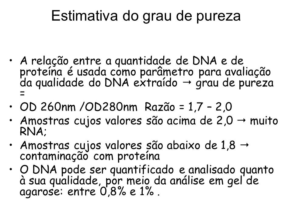 Estimativa do grau de pureza