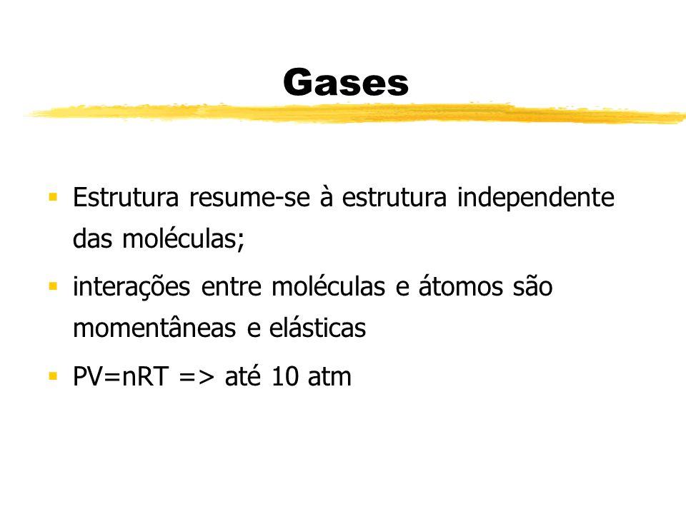 Gases Estrutura resume-se à estrutura independente das moléculas;