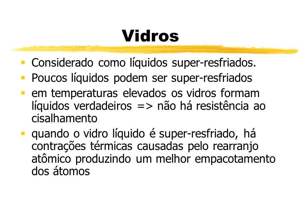 Vidros Considerado como líquidos super-resfriados.