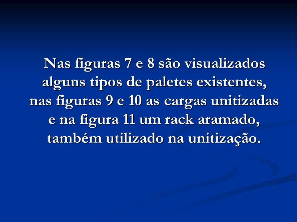 Nas figuras 7 e 8 são visualizados alguns tipos de paletes existentes, nas figuras 9 e 10 as cargas unitizadas e na figura 11 um rack aramado, também utilizado na unitização.
