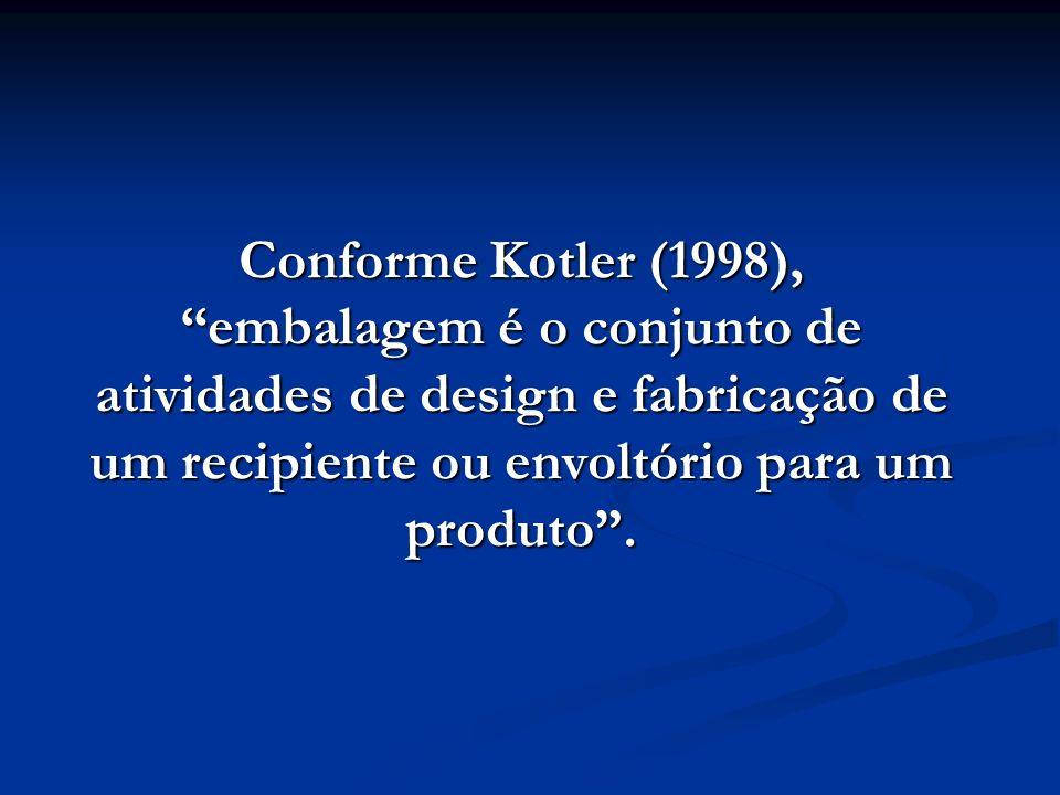 Conforme Kotler (1998), embalagem é o conjunto de atividades de design e fabricação de um recipiente ou envoltório para um produto .