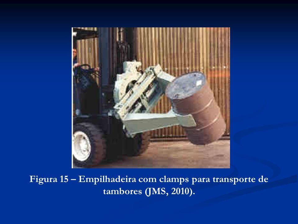 Figura 15 – Empilhadeira com clamps para transporte de tambores (JMS, 2010).