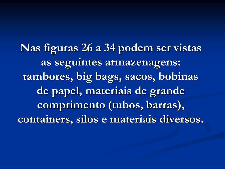 Nas figuras 26 a 34 podem ser vistas as seguintes armazenagens: tambores, big bags, sacos, bobinas de papel, materiais de grande comprimento (tubos, barras), containers, silos e materiais diversos.