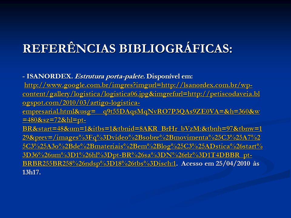 REFERÊNCIAS BIBLIOGRÁFICAS: - ISANORDEX. Estrutura porta-palete