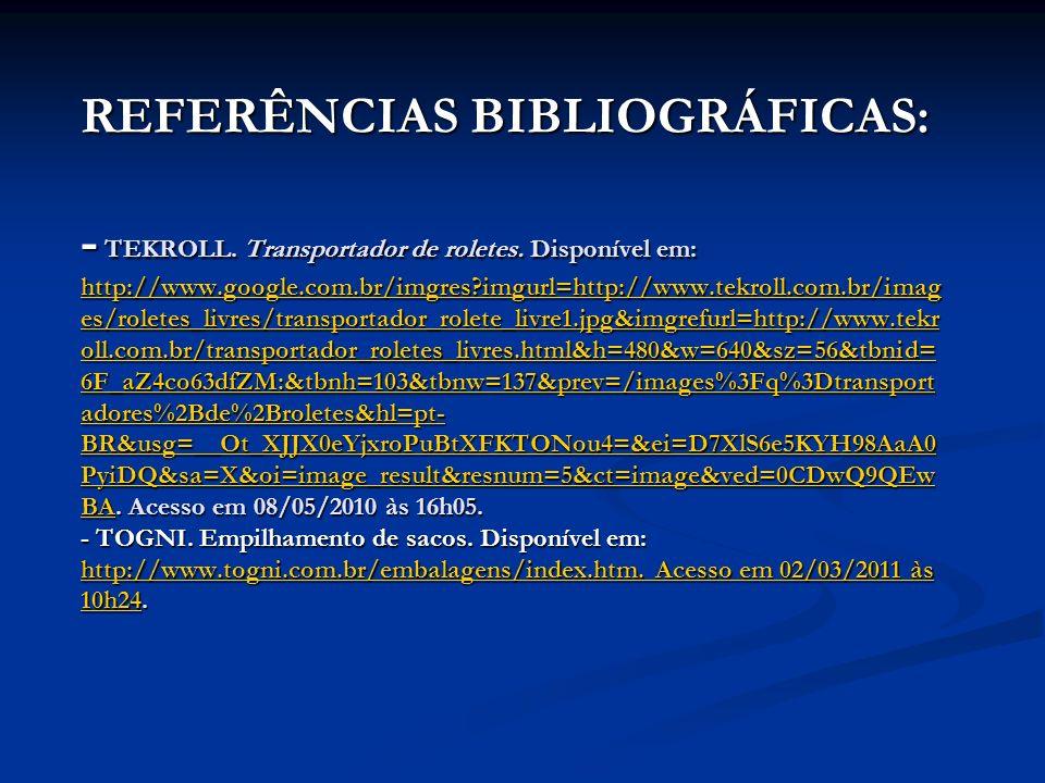 REFERÊNCIAS BIBLIOGRÁFICAS: - TEKROLL. Transportador de roletes