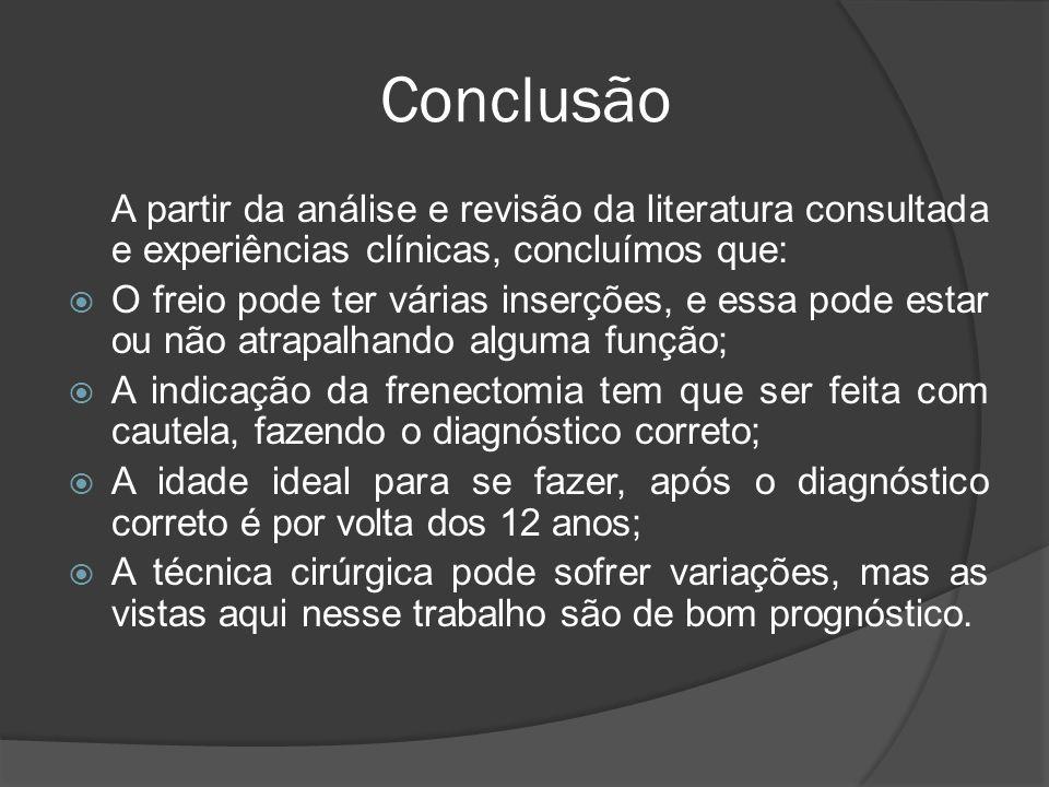 Conclusão A partir da análise e revisão da literatura consultada e experiências clínicas, concluímos que: