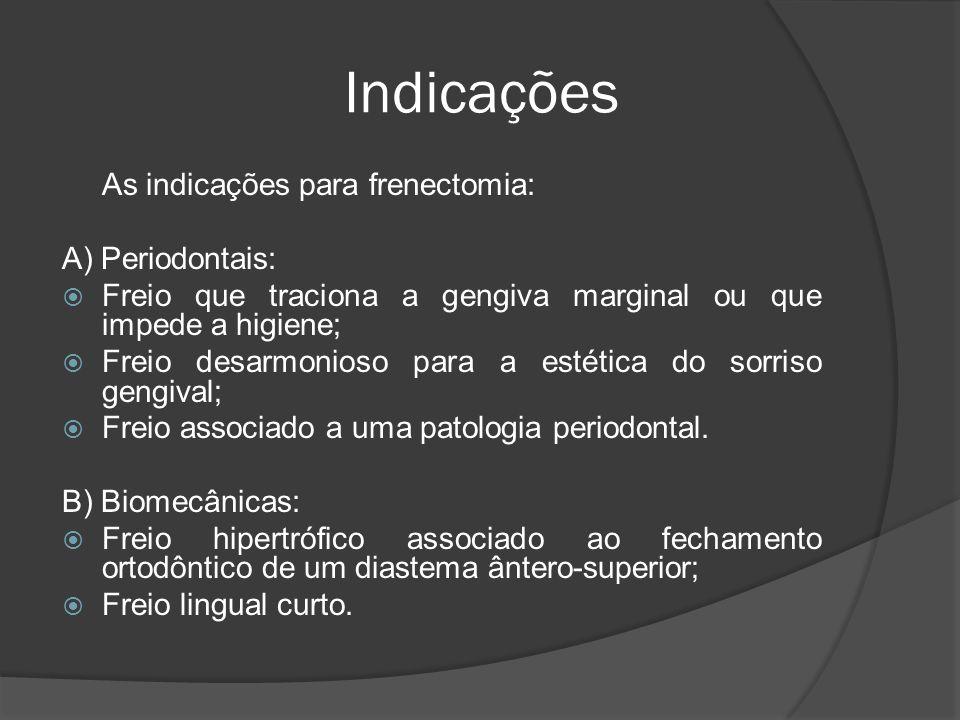 Indicações As indicações para frenectomia: A) Periodontais: