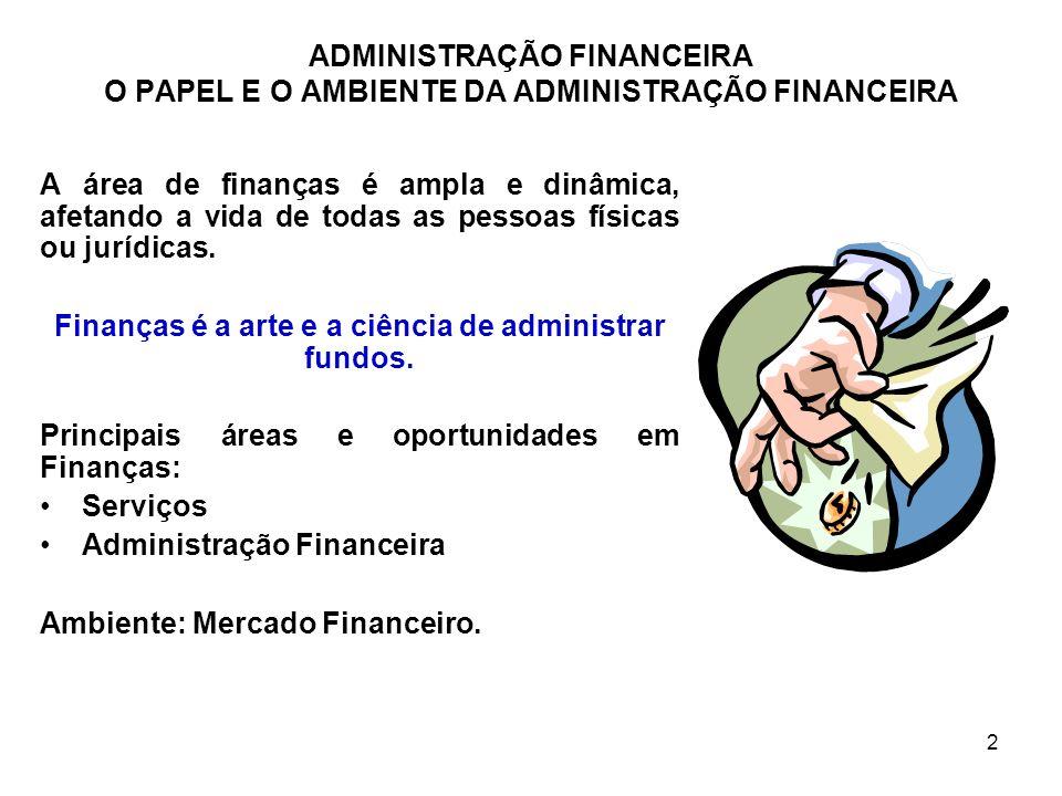 Finanças é a arte e a ciência de administrar fundos.