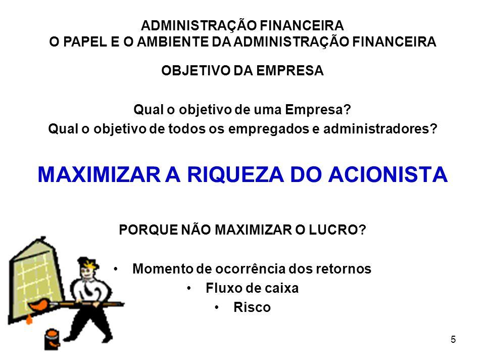 MAXIMIZAR A RIQUEZA DO ACIONISTA