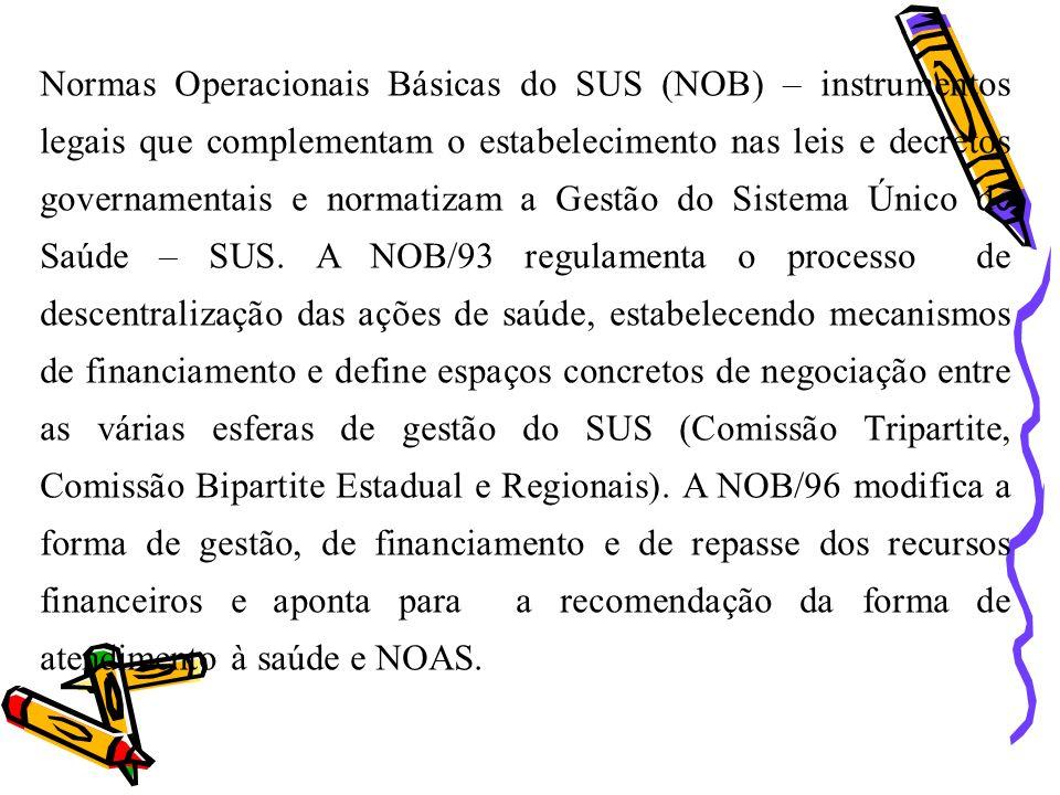 Normas Operacionais Básicas do SUS (NOB) – instrumentos legais que complementam o estabelecimento nas leis e decretos governamentais e normatizam a Gestão do Sistema Único de Saúde – SUS.