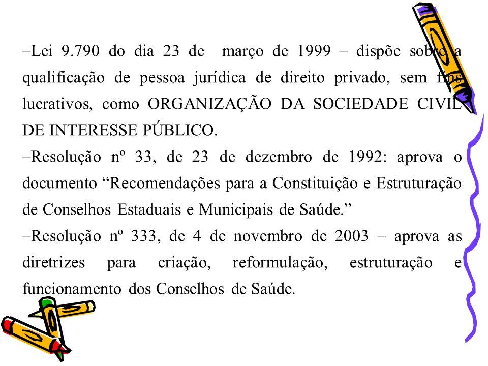Lei 9.790 do dia 23 de março de 1999 – dispõe sobre a qualificação de pessoa jurídica de direito privado, sem fins lucrativos, como ORGANIZAÇÃO DA SOCIEDADE CIVIL DE INTERESSE PÚBLICO.