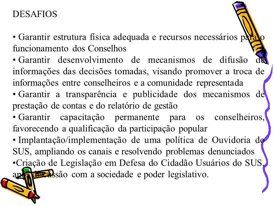 DESAFIOS Garantir estrutura física adequada e recursos necessários para o funcionamento dos Conselhos.