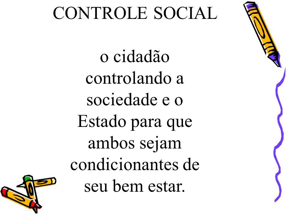 CONTROLE SOCIAL o cidadão. controlando a. sociedade e o. Estado para que. ambos sejam. condicionantes de.