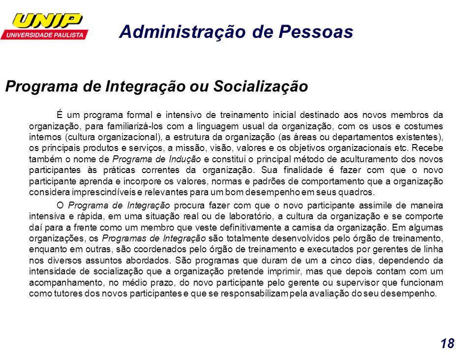 Programa de Integração ou Socialização
