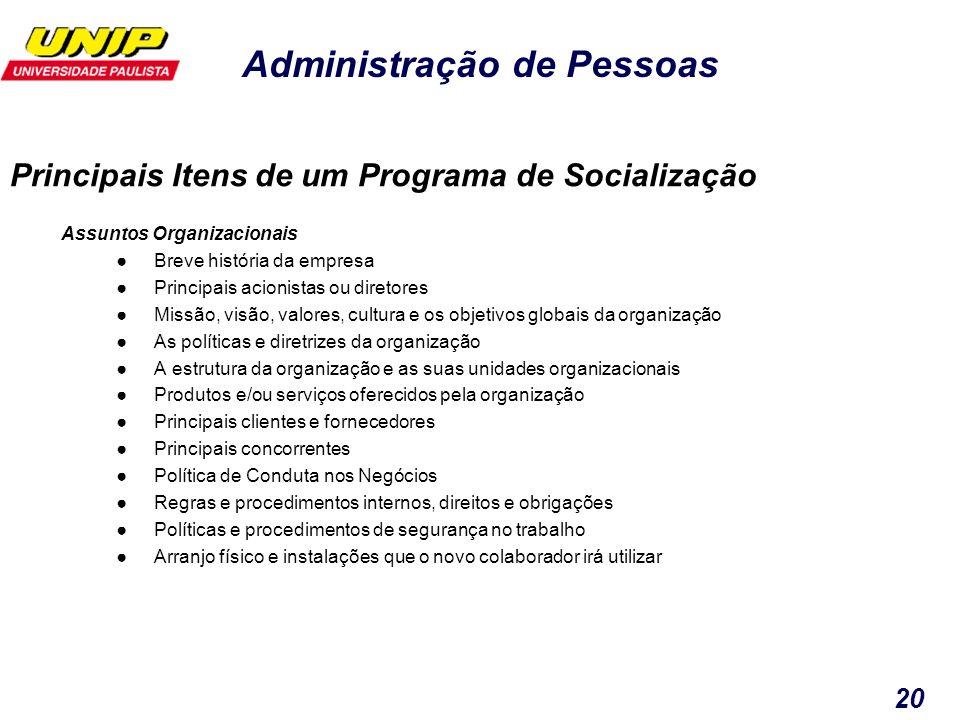 Principais Itens de um Programa de Socialização