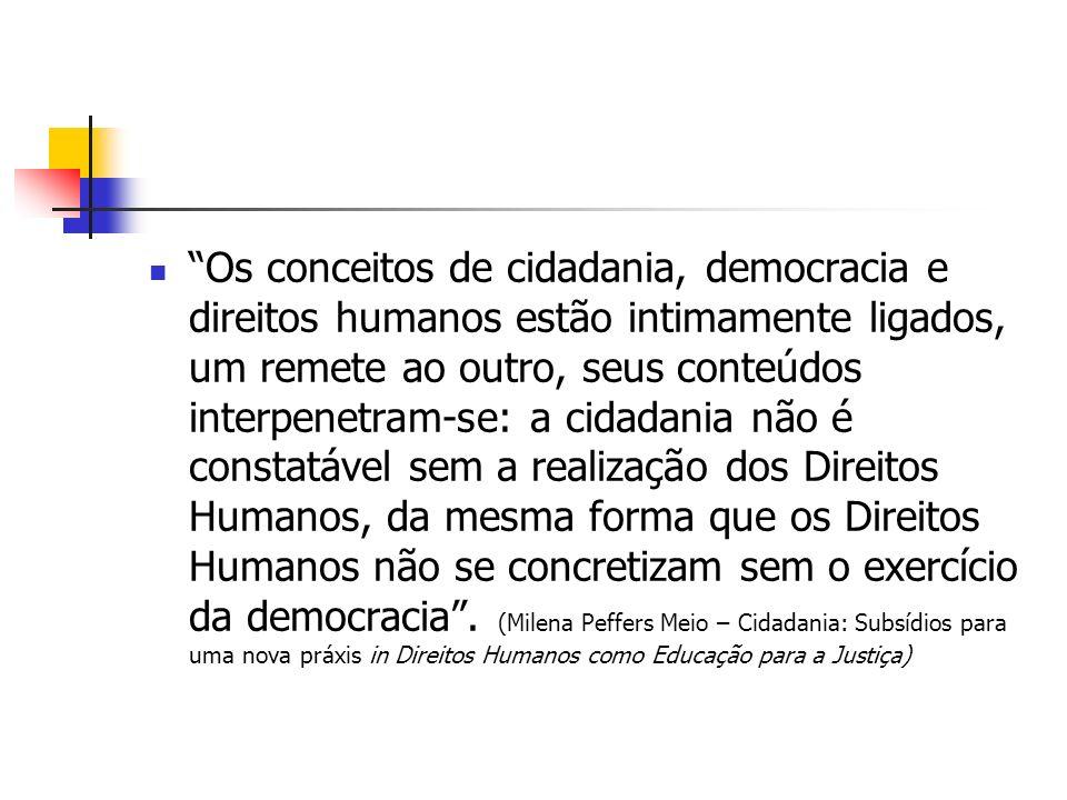 Os conceitos de cidadania, democracia e direitos humanos estão intimamente ligados, um remete ao outro, seus conteúdos interpenetram-se: a cidadania não é constatável sem a realização dos Direitos Humanos, da mesma forma que os Direitos Humanos não se concretizam sem o exercício da democracia .
