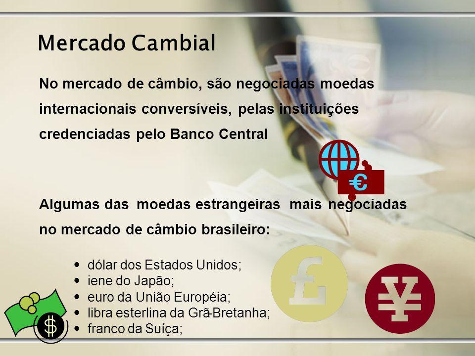 Mercado Cambial No mercado de câmbio, são negociadas moedas