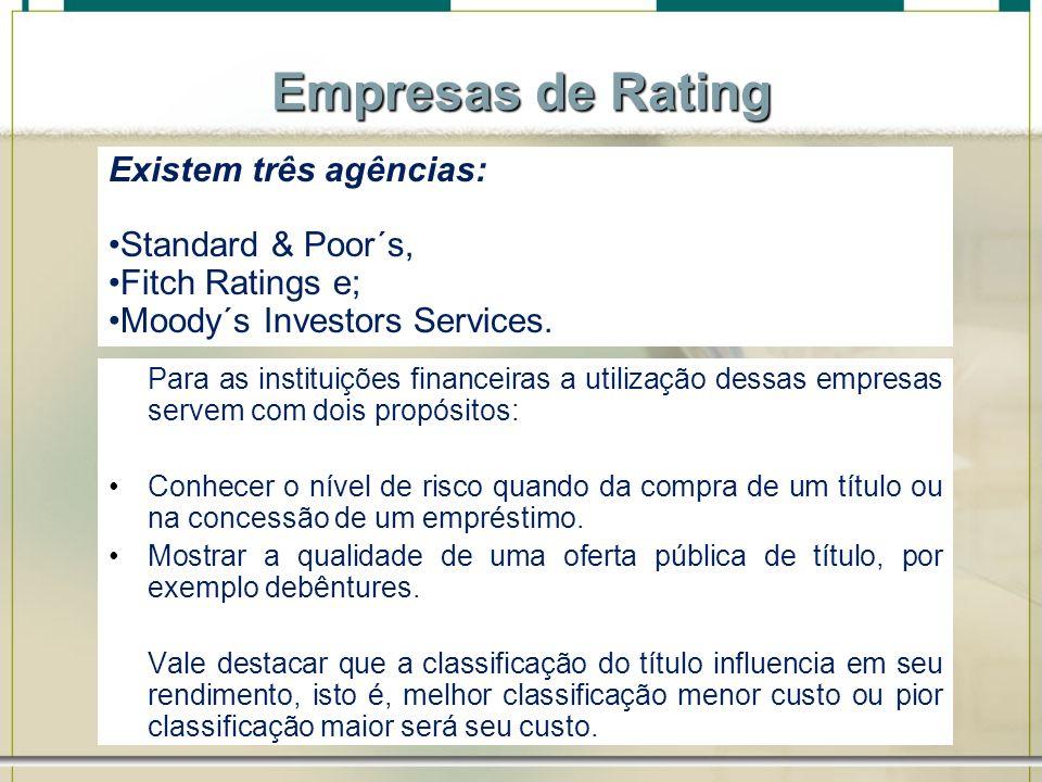 Empresas de Rating Existem três agências: Standard & Poor´s,