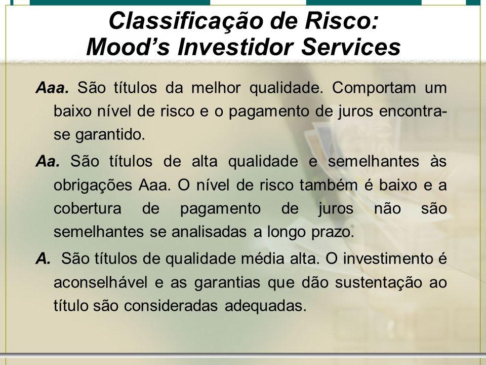 Classificação de Risco: Mood's Investidor Services