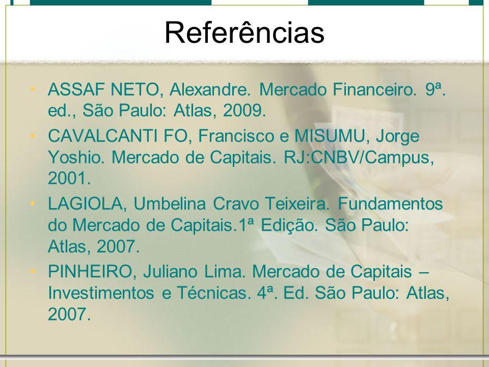 Referências ASSAF NETO, Alexandre. Mercado Financeiro. 9ª. ed., São Paulo: Atlas, 2009.