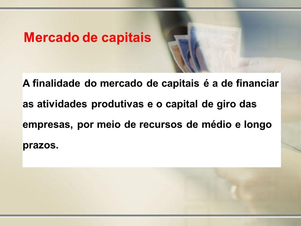 Mercado de capitais A finalidade do mercado de capitais é a de financiar. as atividades produtivas e o capital de giro das.