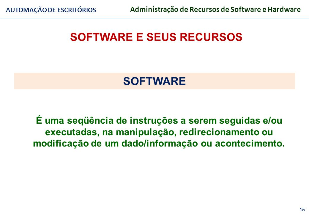 SOFTWARE E SEUS RECURSOS