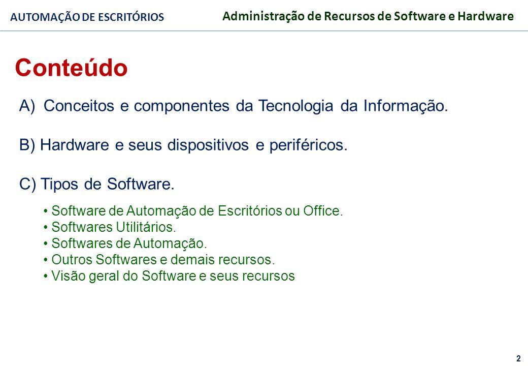 Conteúdo Conceitos e componentes da Tecnologia da Informação.