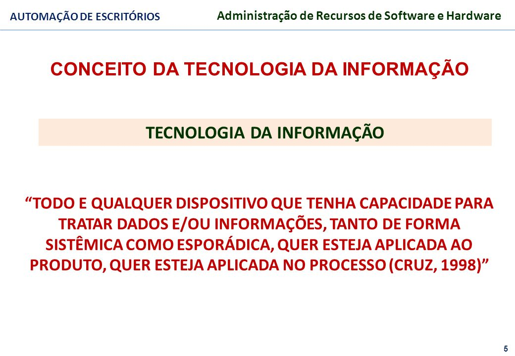 CONCEITO DA TECNOLOGIA DA INFORMAÇÃO TECNOLOGIA DA INFORMAÇÃO