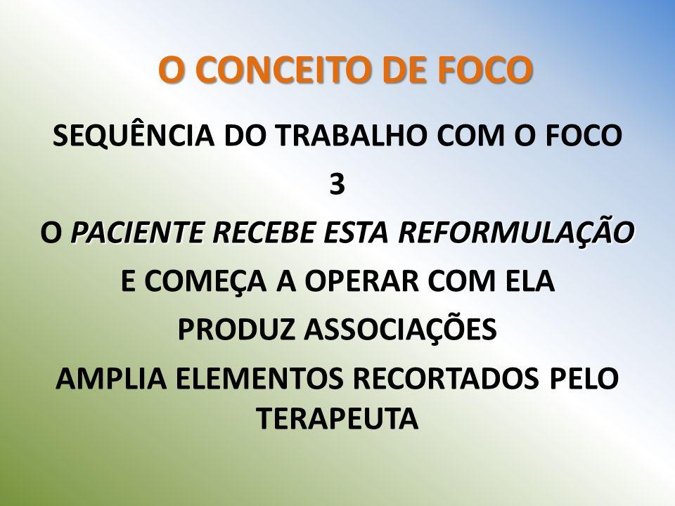 SEQUÊNCIA DO TRABALHO COM O FOCO 3 O PACIENTE RECEBE ESTA REFORMULAÇÃO
