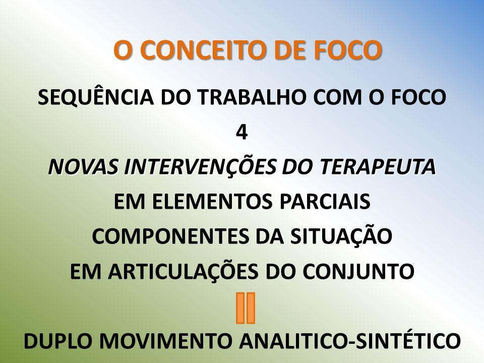 SEQUÊNCIA DO TRABALHO COM O FOCO 4 NOVAS INTERVENÇÕES DO TERAPEUTA