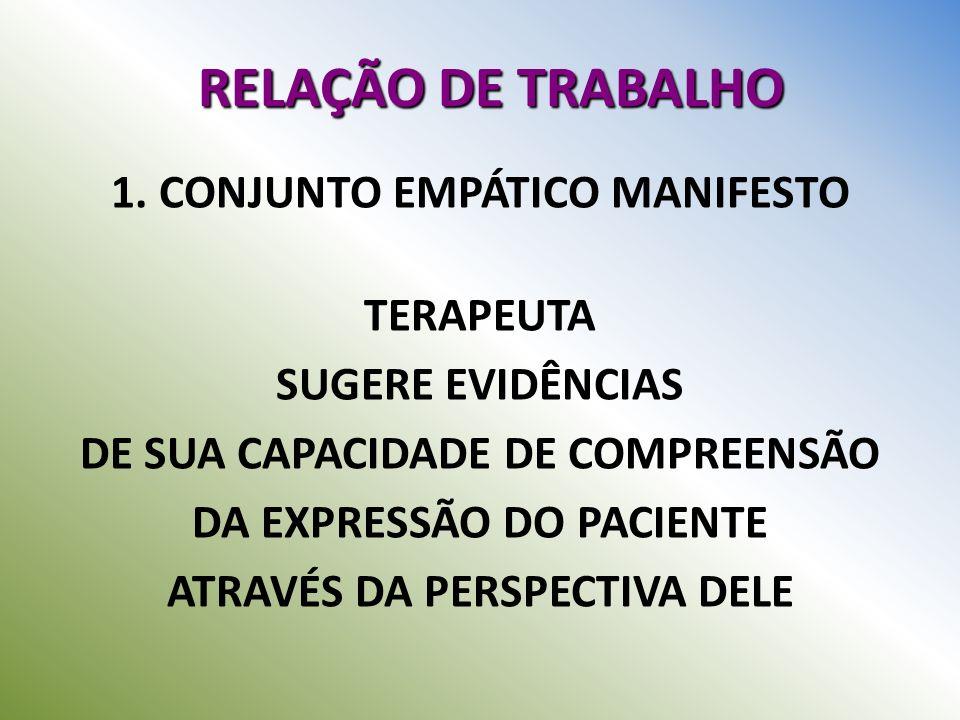 RELAÇÃO DE TRABALHO 1. CONJUNTO EMPÁTICO MANIFESTO TERAPEUTA