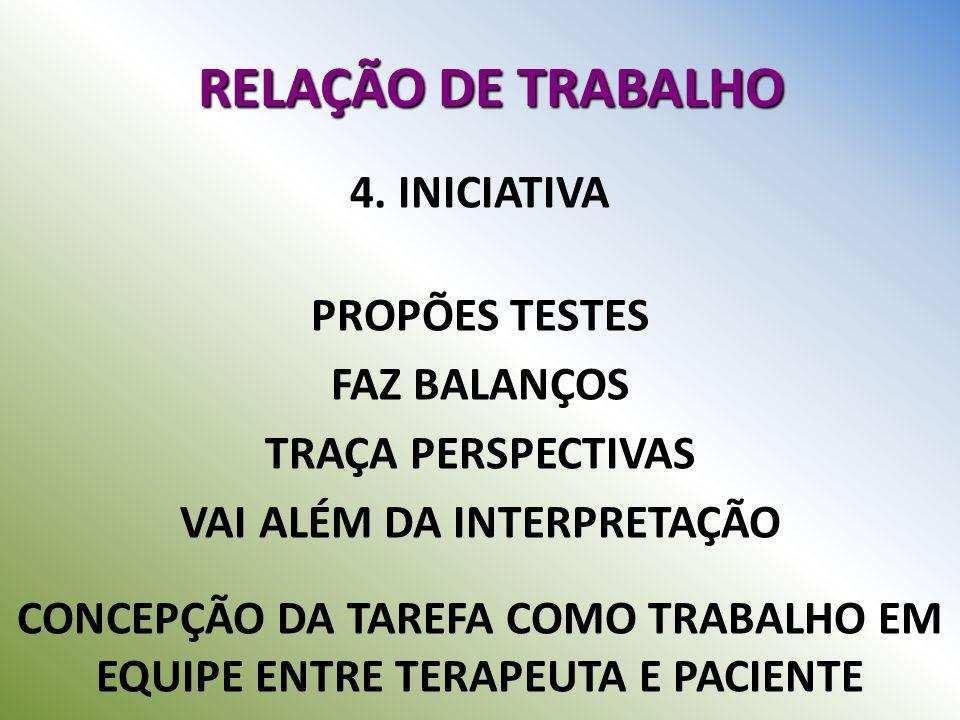 RELAÇÃO DE TRABALHO 4. INICIATIVA PROPÕES TESTES FAZ BALANÇOS