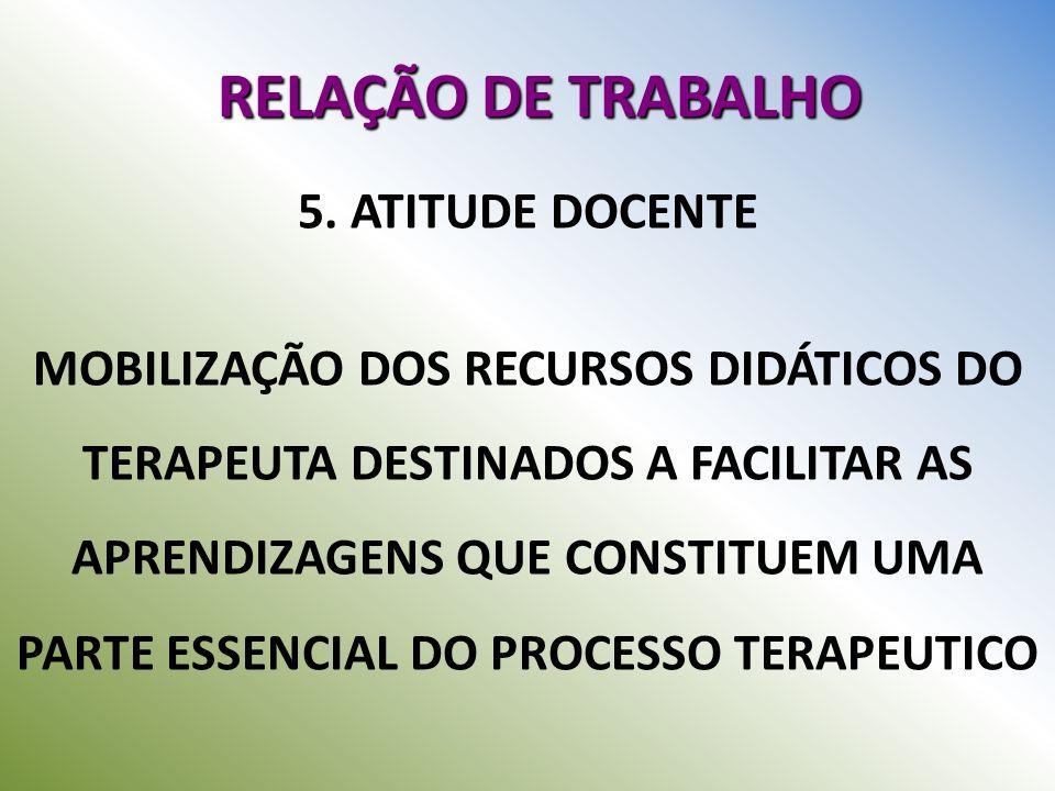 RELAÇÃO DE TRABALHO 5. ATITUDE DOCENTE