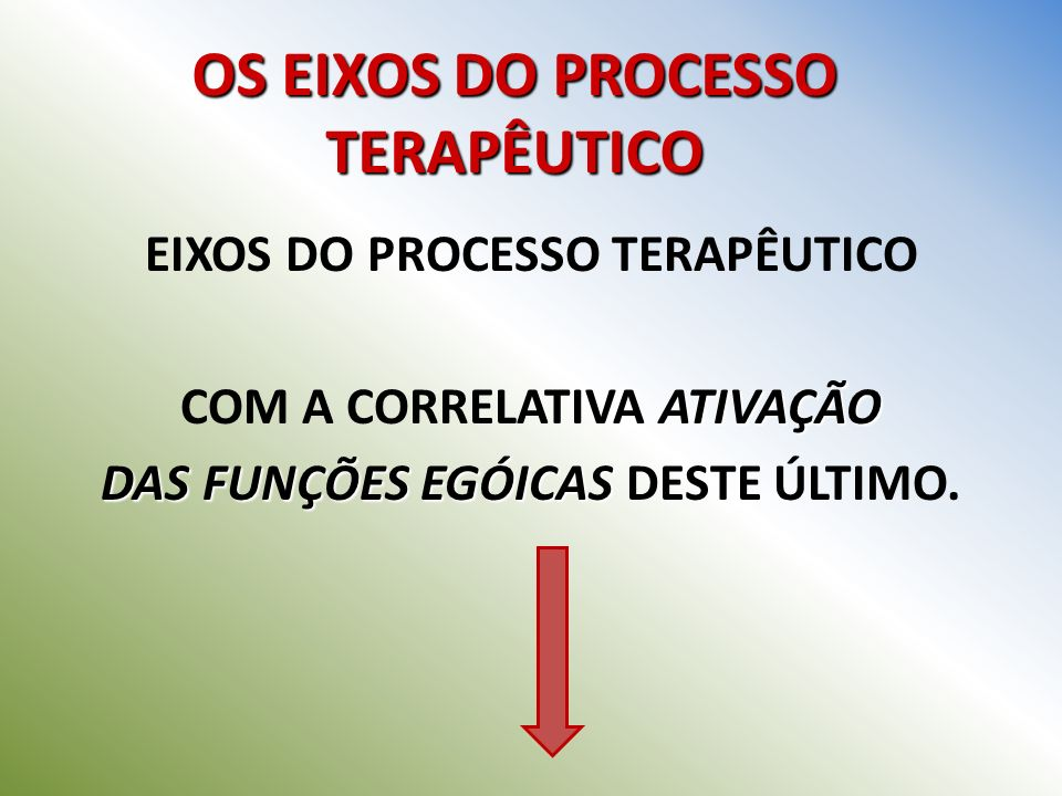 OS EIXOS DO PROCESSO TERAPÊUTICO